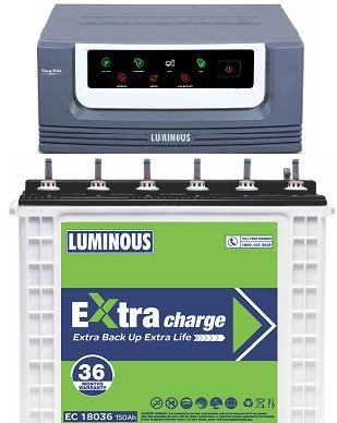 Luminous EcoVolt 1050 Inverter with EC 18036 150Ah Tubular Battery