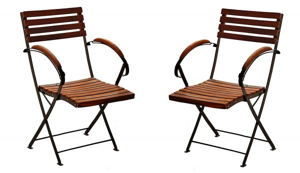 Matchless Bistro Arm Folding Chair Set Of 2