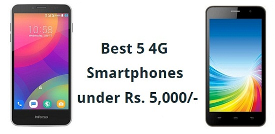 Best Android Phones Under 5000 with 4G and 1 GB Ram