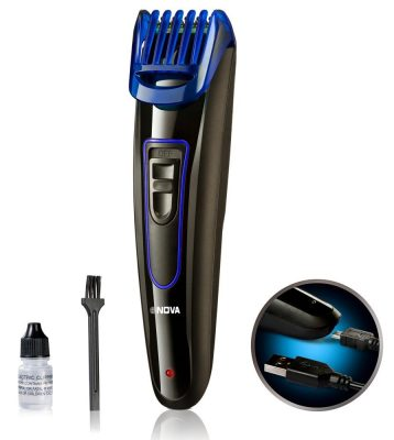 Nova NHT-1071 Dura Power Titanium Coated USB Trimmer for Men (Black/Blue)