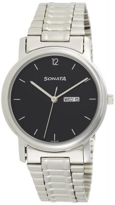 Sonata Analog Black Dial Men's Watch -NK1013SM04