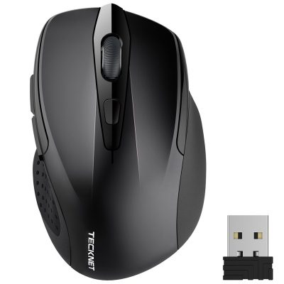 TeckNet M003 Pro 2.4G Ergonomic Wireless Mobile Optical Mouse with USB Nano Receiver,Black
