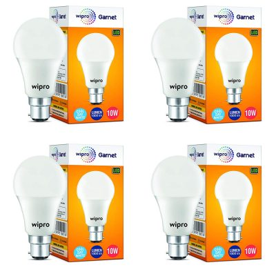 Wipro Garnet 10-Watt LED Bulb (Pack of 4, Cool Day Light)