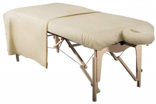 Beige Flannel Fitted & Flat Sheet Massage Table Face Cover 3pc Set