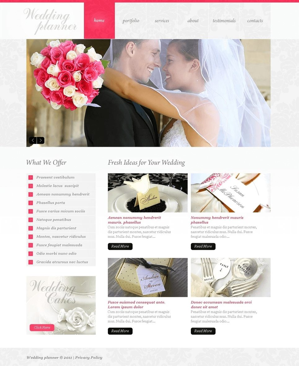 Best Wedding HTML Website Templates Offered by TemplateMonster