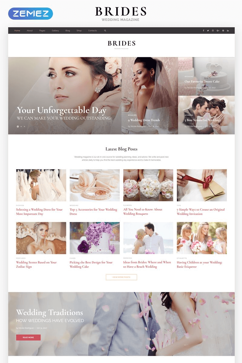 Brides - Wedding Magazine Multipurpose HTML Theme