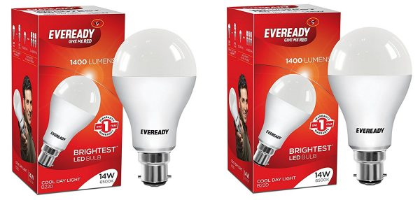 Eveready 14-Watt LED Bulbs (White/Cool Day Light) 2 Pieces Pack