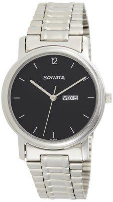 Sonata Analog Black Dial Men's Watch -NK1013SM04
