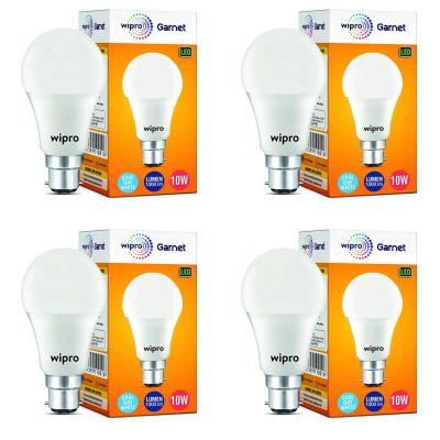 Wipro Garnet 10-Watt LED Bulb (Pack of 4, Cool Day Light)