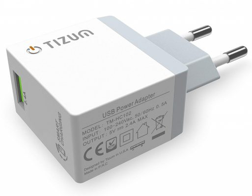 Tizum Quick Smart 2.4A Single Travel Wall Charger